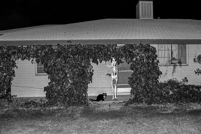 USA. ARIZONA. Tempe. Surreal pair guard a house during Halloween in Tempe, Arizona. 1979.
