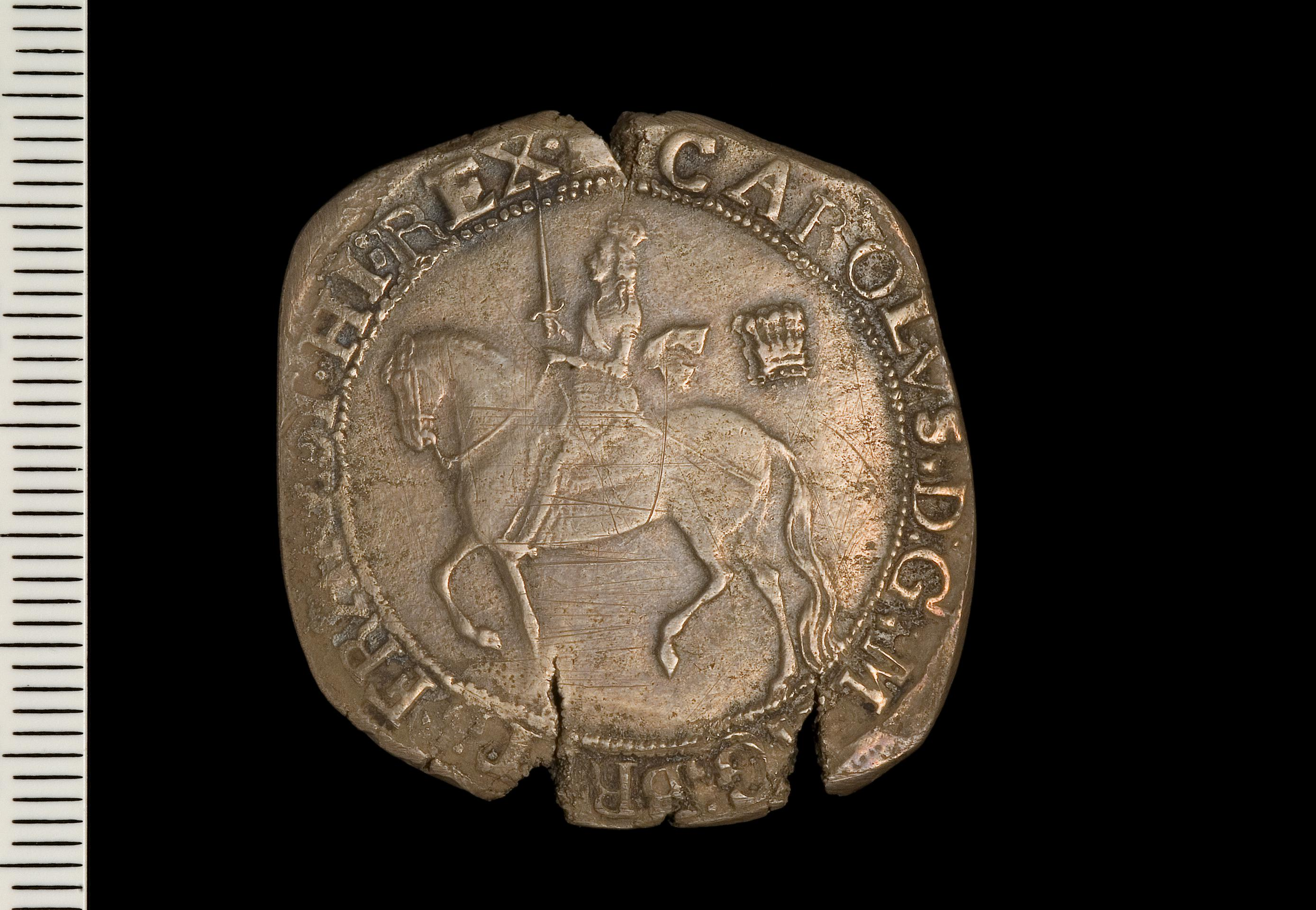 Open the image &lsquoCharles I , Half crown, Silver Mills'