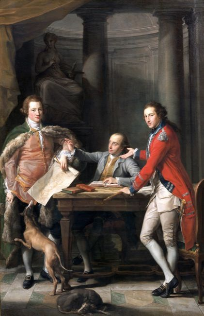 Batoni, Pompeo. Syr Watkin Williams-Wynn (1749-1789), Thomas Apperley (1734-1819) a'r Capten Edward Hamilton.