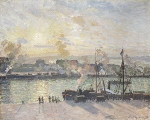 Pissarro, Camille. Machlud Haul, Porthladd Rouen (Llongau Ager) (1898)