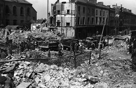 Bomb Damage in Bute Street, Cardiff
