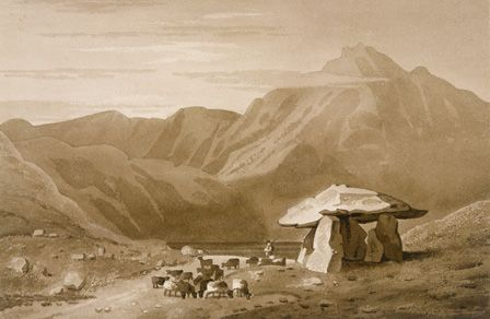 Cromlech at Gwernvale, 1832 (sepia wash on paper)