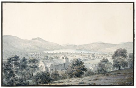 View of Bala Pool, Llyntagit, from above Llanfawr Church, Meirionethshire, 1805 (w/c on paper)