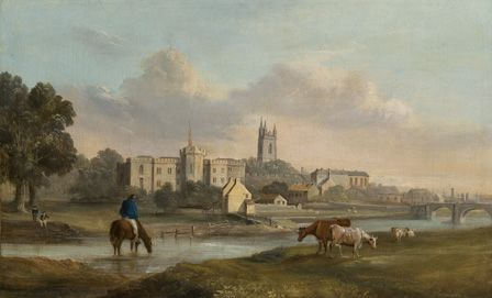 Cardiff from the West (oil on canvas)