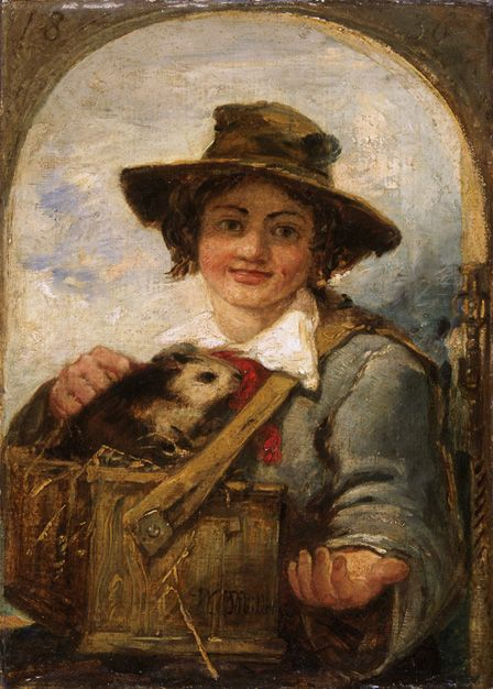 Italian boy with a guinea pig, 1836 (oil on canvas)
