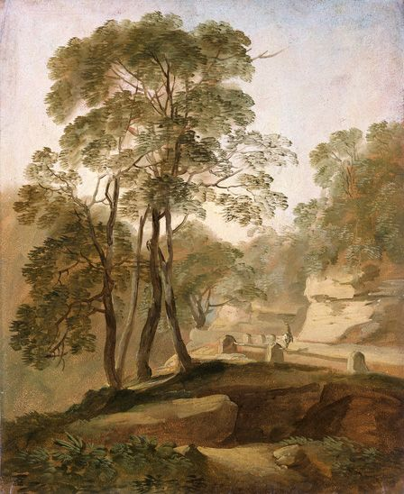 Landscape near Tivoli (oil on paper on board)