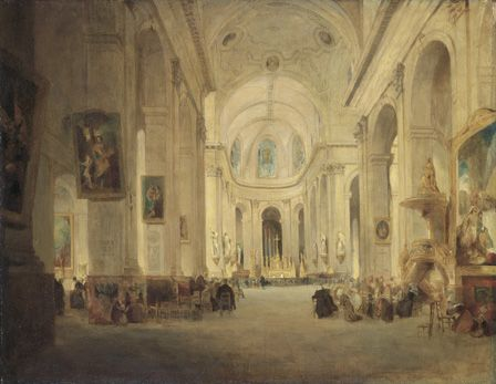 Interior of St. Sulpice, Paris, 1834, (oil on canvas)