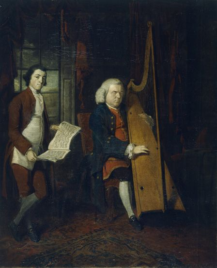 John Parry the Blind Harpist with an Assistant (oil on canvas)