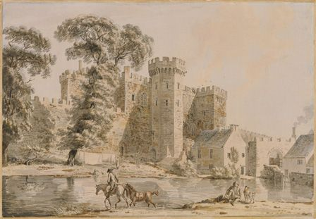 The south gate of Cardiff Castle, 1775 (aquatint)