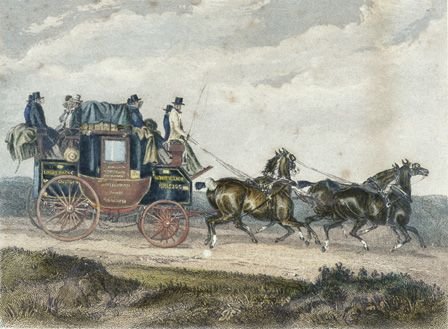 'Briston-London Stagecoach (coloured engraving)