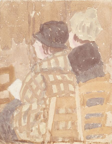Two Women seated in church (w/c on paper)