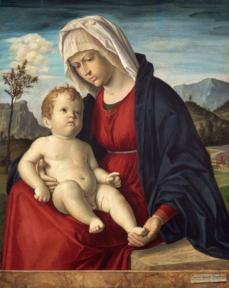 Virgin and Child (oil on board)