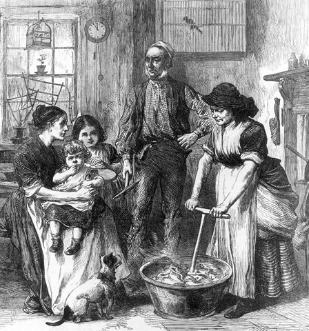 Interior of a Miner's Cottage (engraving)