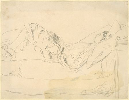 Girl Lying on a bed (pencil on paper)