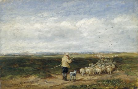 The Shepherd, Return of the Flock 1850 (oil on board)