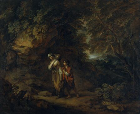 Rocky landscape with Hagar and Ishmael (oil on canvas)