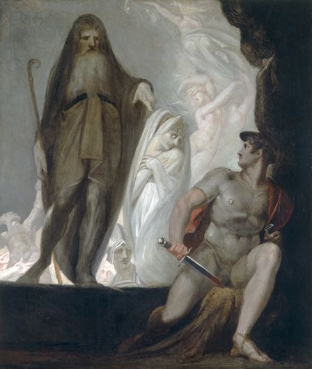 Teiresias foretells the future to Odysseus (oil on canvas)