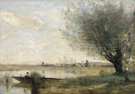 Fisherman Moored at a Bank (oil on canvas)