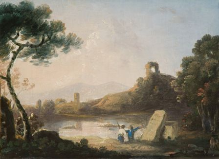 Lake Avernus with a sarcophagus (oil on canvas)