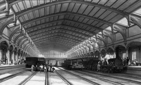 Temple Meads station, Bristol, engraved by Bourne