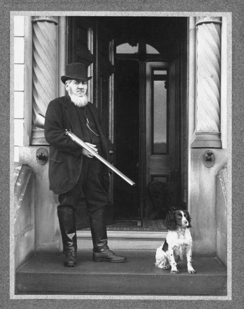 David Davies with dog (b/w photo)