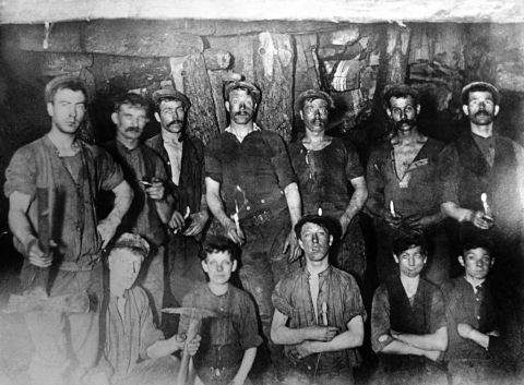 Dayshift underground at Baldwins colliery, c1912 (b/w photo)