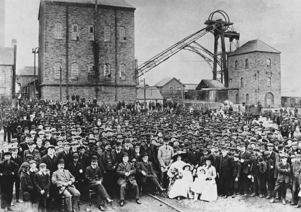 Workforce and management of Deep Navigation colliery, c1910 (b/w photo)