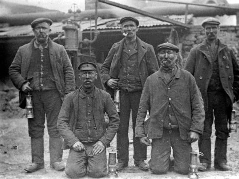 Bwllfa Colliery: formal group of five miners (b/w photo)