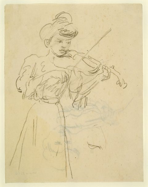 Woman standing playing violin (pencil on paper)