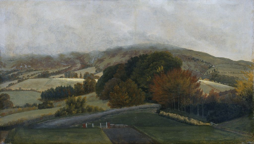 Carneddau mountains from Pencerrig, c1776 (oil on paper on canvas)