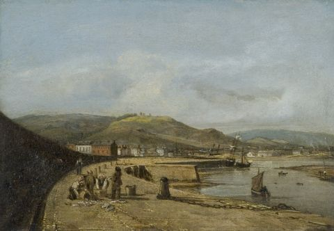 Swansea from the west pier, 1820 (oil on panel)