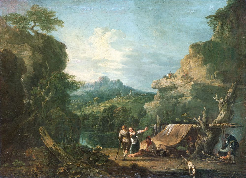 Landscape with Banditti round a tent, 1752 ( oil on canvas)