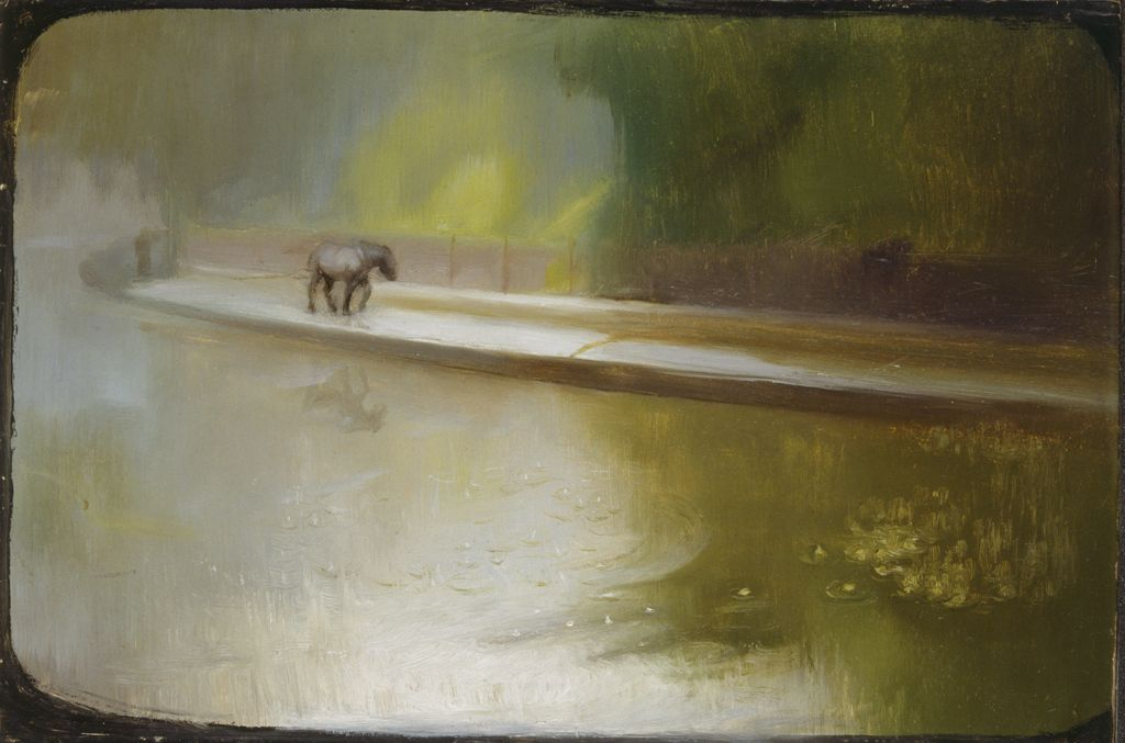 Morning: The Glamorgan canal (Oil on board)