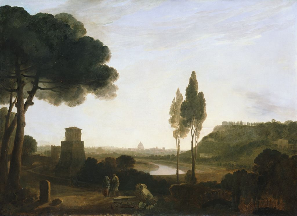 Rome and the Ponte Molle, 1754 (oil on canvas)