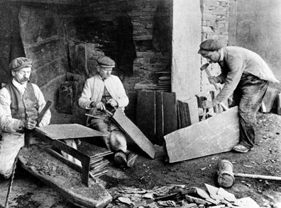 Old style of making roof slates c.1905