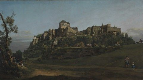 Paentiad o'r enw 'The Fortress of Königstein from the North' gan Bernardo Bellotto